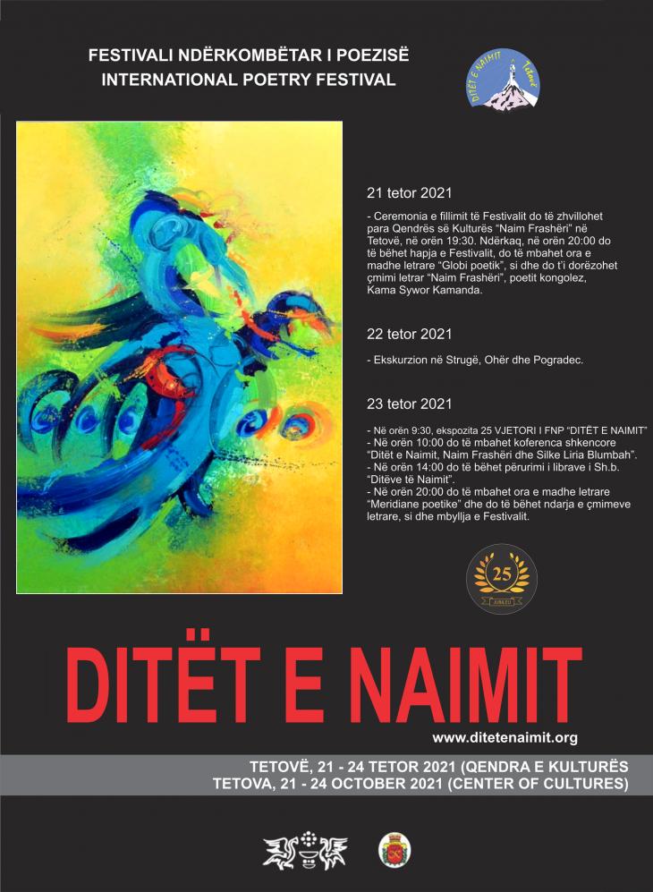 """Edicioni i XXV i Festivalit Ndërkombëtar të Poezisë """"Ditët e Naimit"""""""